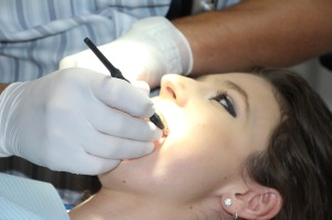 Patient having teeth cleaned